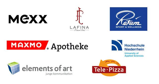 Eine Collage verschiedener Logos unserer Referenzen